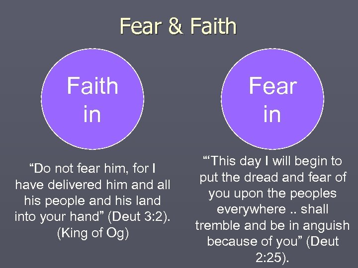 "Fear & Faith Fear out in ""Do not fear him, for I have delivered"