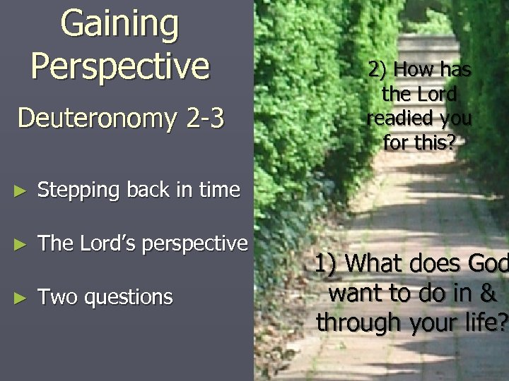 Gaining Perspective Deuteronomy 2 -3 ► Stepping back in time ► The Lord's perspective