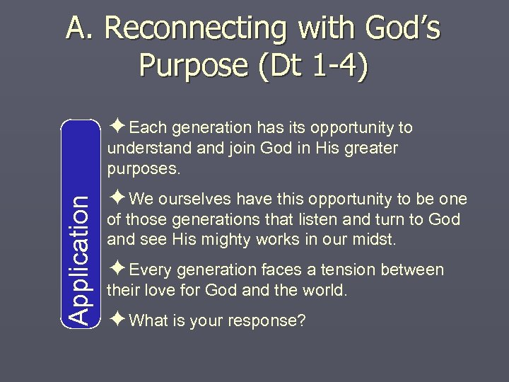 A. Reconnecting with God's Purpose (Dt 1 -4) ✦Each generation has its opportunity to