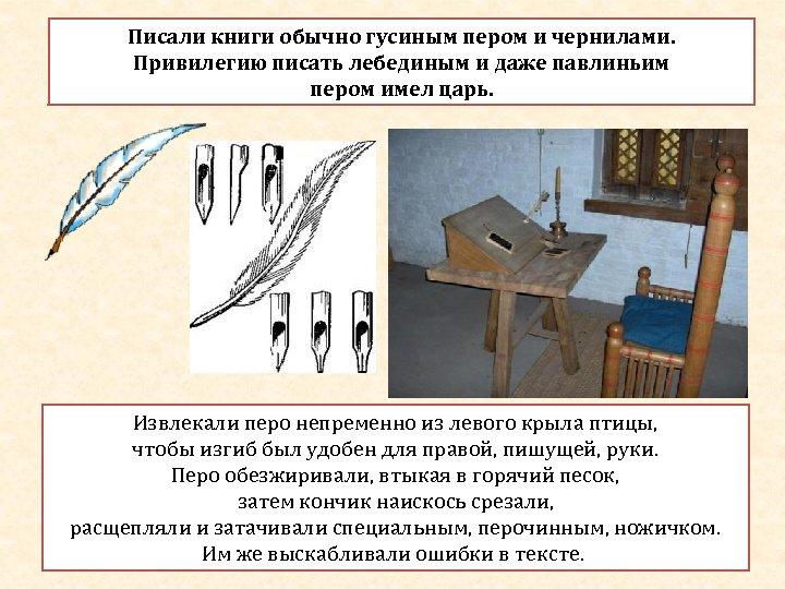 Писали книги обычно гусиным пером и чернилами. Привилегию писать лебединым и даже павлиньим пером