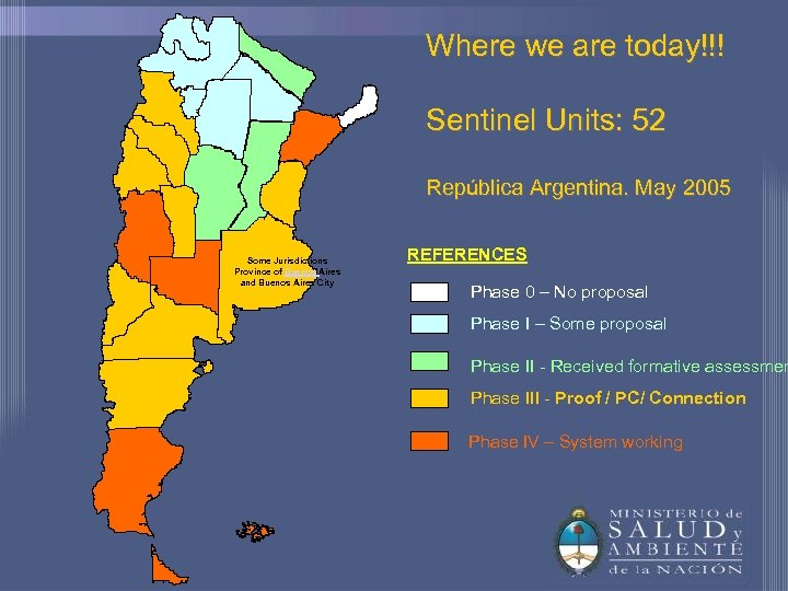 Where we are today!!! Sentinel Units: 52 República Argentina. May 2005 Some Jurisdictions Province
