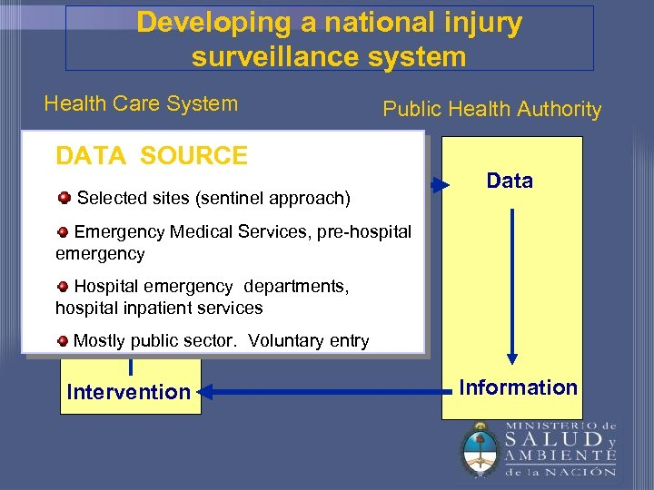 Developing a national injury surveillance system Health Care System Public Health Authority DATA SOURCE