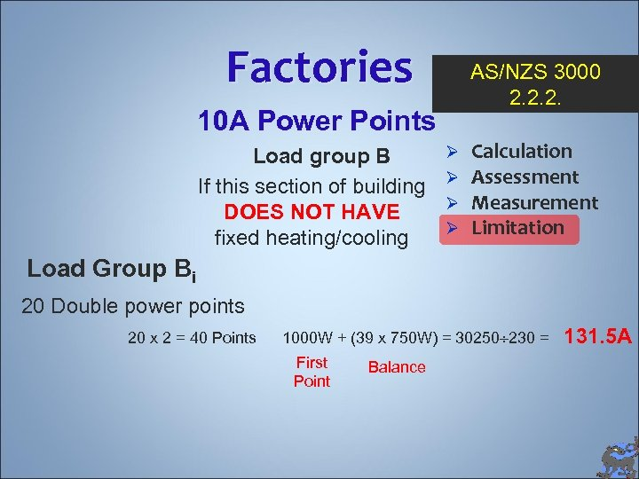 Factories AS/NZS 3000 2. 2. 2. 10 A Power Points Load group B If