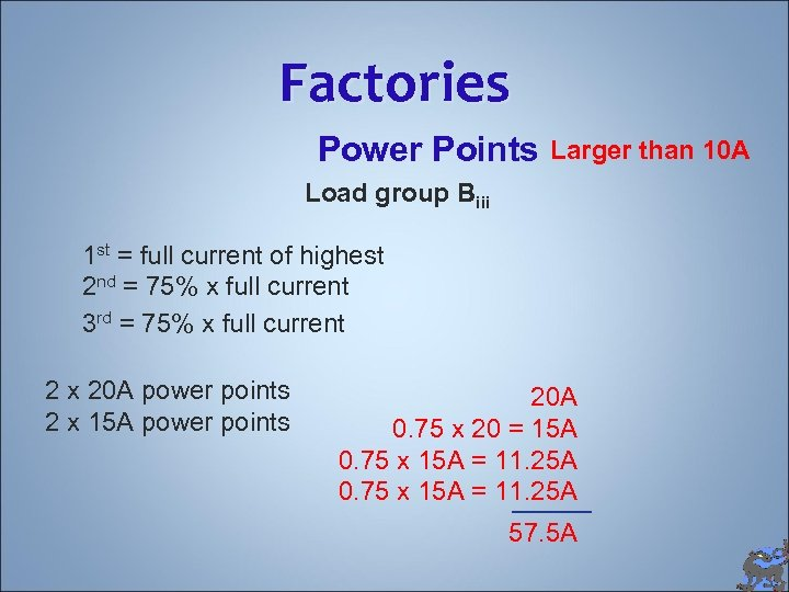 Factories Power Points Larger than 10 A Load group Biii 1 st = full
