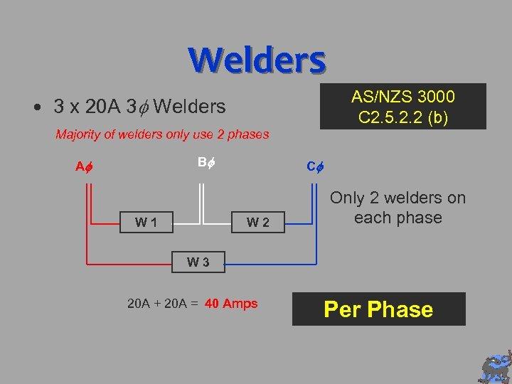 Welders AS/NZS 3000 C 2. 5. 2. 2 (b) 3 x 20 A 3