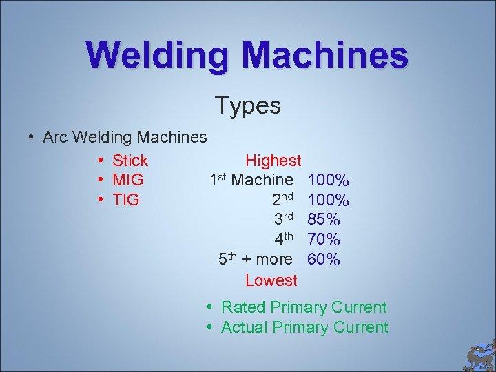 Welding Machines Types • Arc Welding Machines • Stick Highest 1 st Machine •