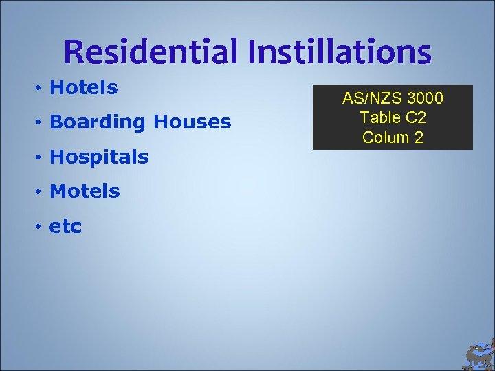 Residential Instillations • Hotels • Boarding Houses • Hospitals • Motels • etc AS/NZS