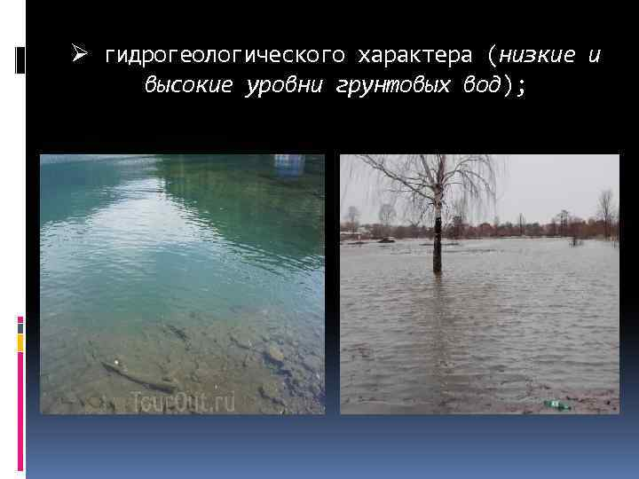 Ø гидрогеологического характера (низкие и высокие уровни грунтовых вод);