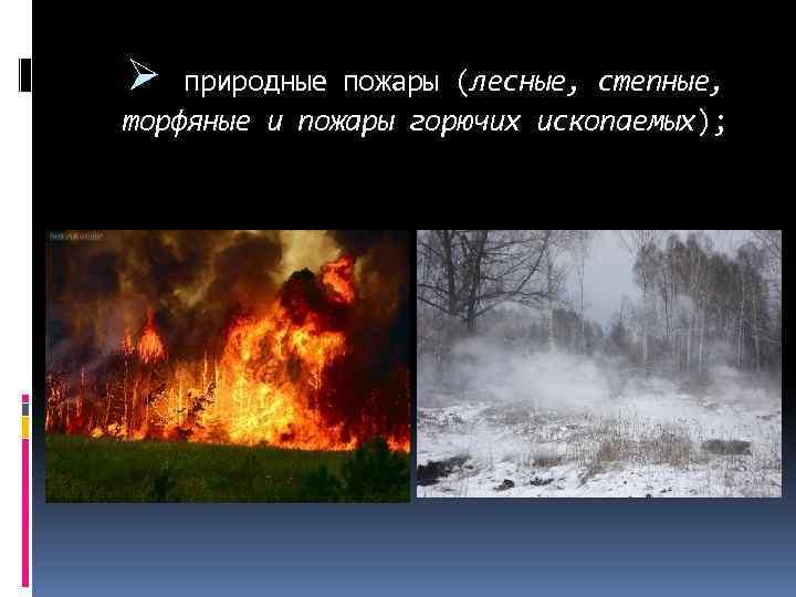 Ø природные пожары (лесные, степные, торфяные и пожары горючих ископаемых);