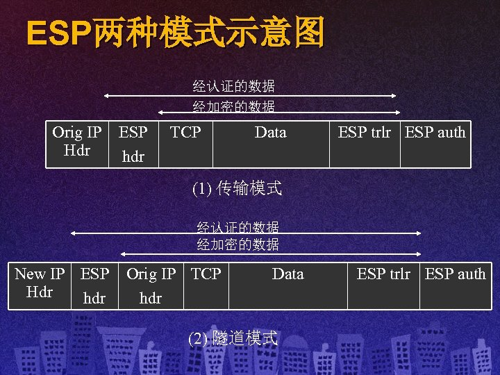 ESP两种模式示意图 经认证的数据 经加密的数据 Orig IP Hdr ESP hdr TCP Data ESP trlr ESP auth