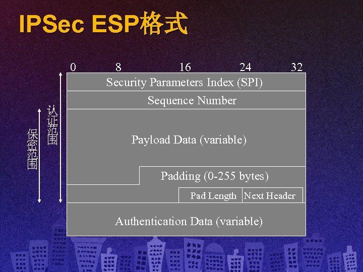 IPSec ESP格式 0 认 证 保 范 密 围 范 围 8 16 24