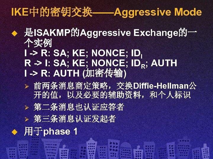 IKE中的密钥交换——Aggressive Mode u 是ISAKMP的Aggressive Exchange的一 个实例 I -> R: SA; KE; NONCE; IDI R