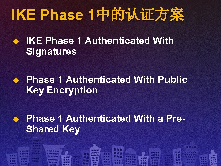 IKE Phase 1中的认证方案 u IKE Phase 1 Authenticated With Signatures u Phase 1 Authenticated