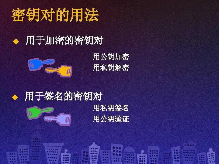 密钥对的用法 u 用于加密的密钥对 用公钥加密 用私钥解密 u 用于签名的密钥对 用私钥签名 用公钥验证