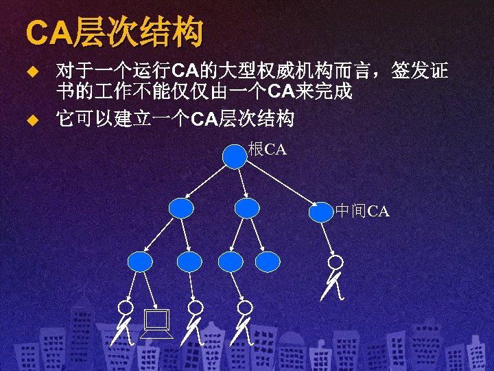 CA层次结构 u u 对于一个运行CA的大型权威机构而言,签发证 书的 作不能仅仅由一个CA来完成 它可以建立一个CA层次结构 根CA 中间CA