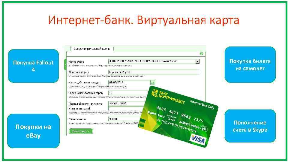 Интернет-банк. Виртуальная карта Покупка Fallout 4 Покупки на e. Bay Покупка билета на самолет