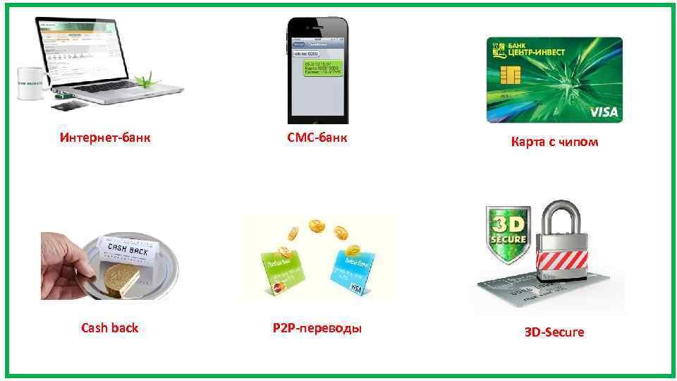 Интернет-банк Cash back СМС-банк Карта с чипом P 2 P-переводы 3 D-Secure