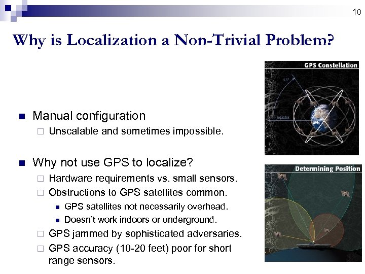 10 Why is Localization a Non-Trivial Problem? n Manual configuration ¨ n Unscalable and