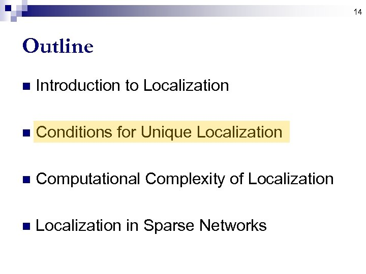 14 Outline n Introduction to Localization n Conditions for Unique Localization n Computational Complexity