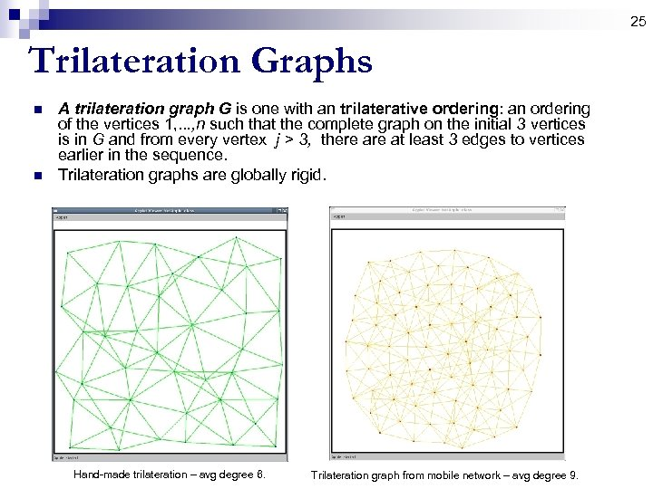 25 Trilateration Graphs n n A trilateration graph G is one with an trilaterative