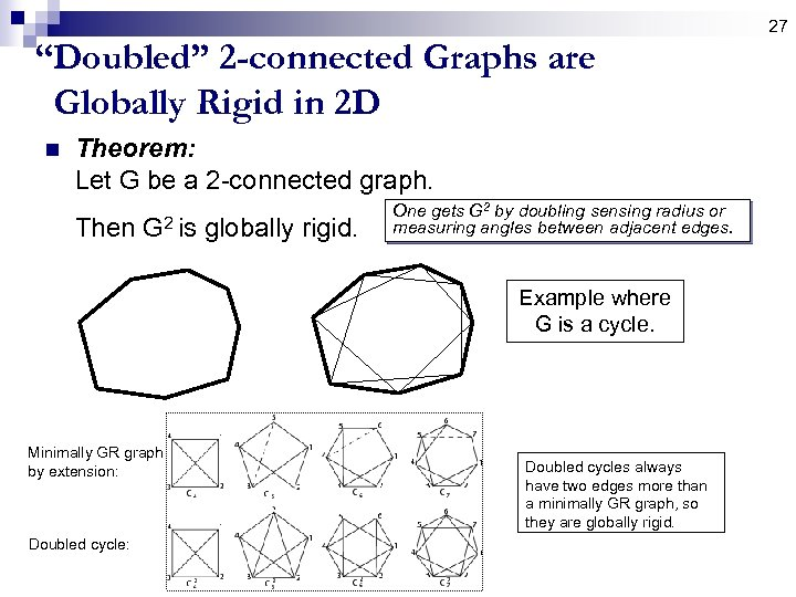 "27 ""Doubled"" 2 -connected Graphs are Globally Rigid in 2 D n Theorem: Let"