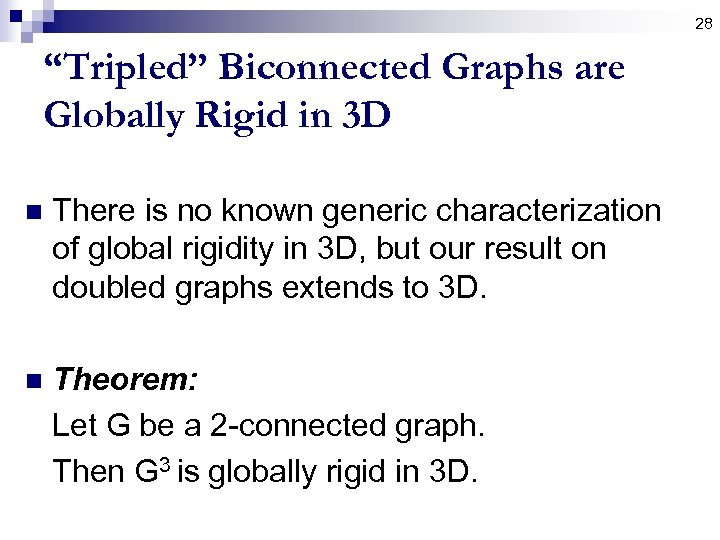 "28 ""Tripled"" Biconnected Graphs are Globally Rigid in 3 D n There is no"