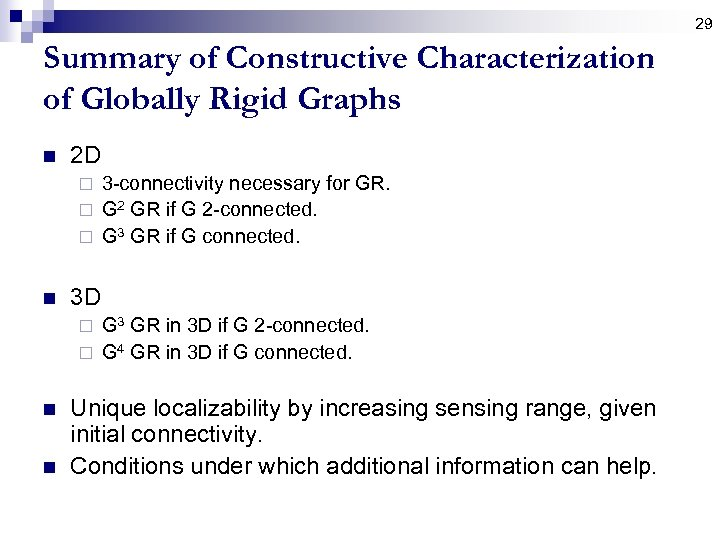 29 Summary of Constructive Characterization of Globally Rigid Graphs n 2 D 3 -connectivity