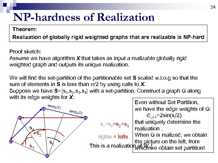 34 NP-hardness of Realization Theorem: Realization of globally rigid weighted graphs that are realizable