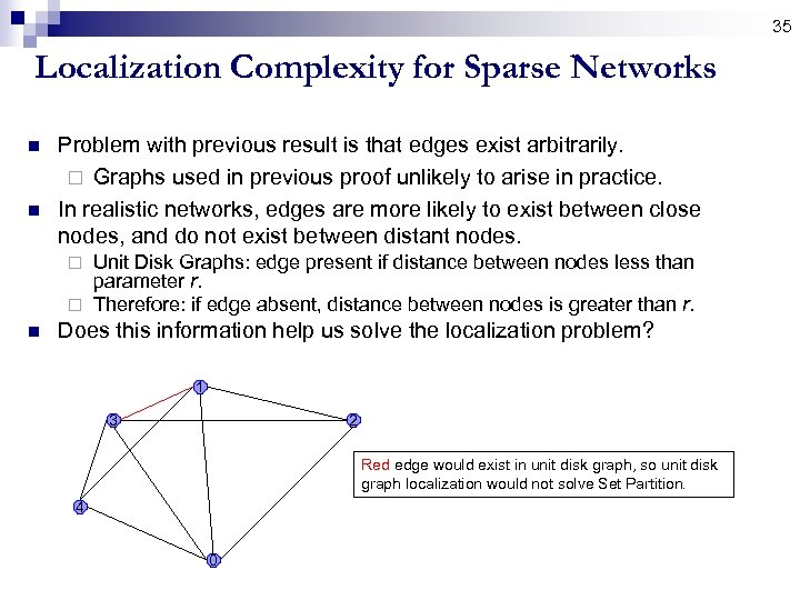 35 Localization Complexity for Sparse Networks n n Problem with previous result is that