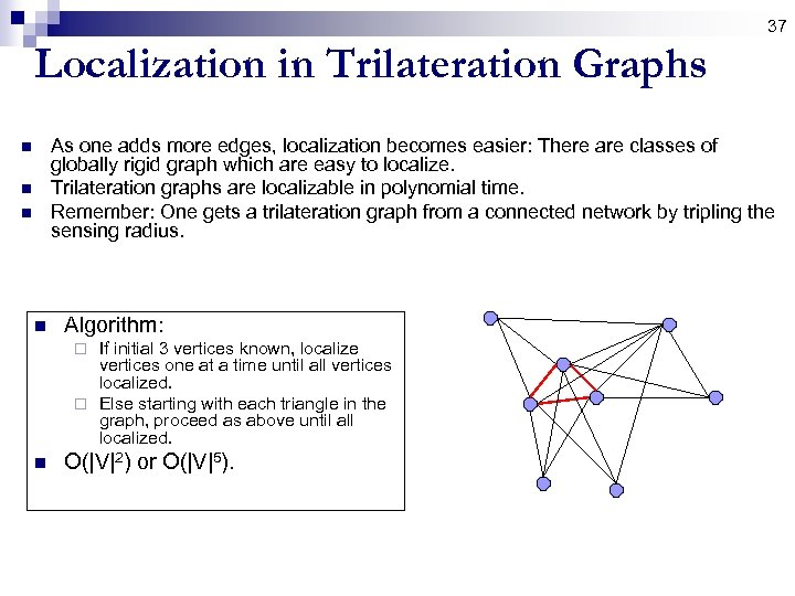 37 Localization in Trilateration Graphs As one adds more edges, localization becomes easier: There