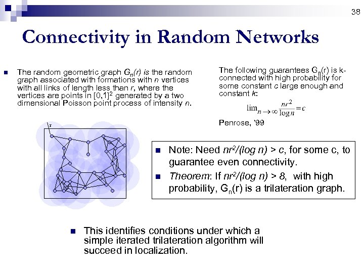 38 Connectivity in Random Networks n The random geometric graph Gn(r) is the random