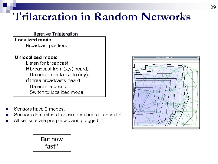 39 Trilateration in Random Networks Iterative Trilateration Localized mode: Broadcast position. Unlocalized mode: Listen