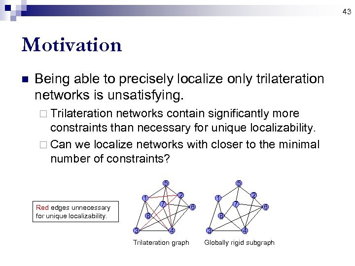 43 Motivation n Being able to precisely localize only trilateration networks is unsatisfying. ¨