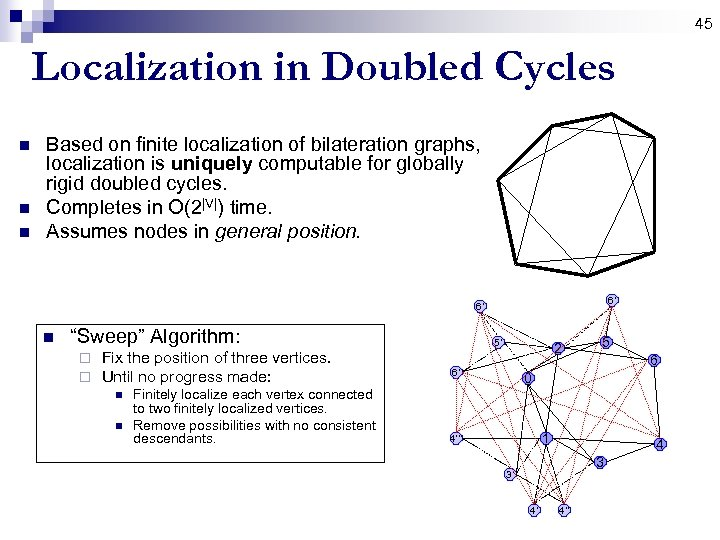 45 Localization in Doubled Cycles n n n Based on finite localization of bilateration