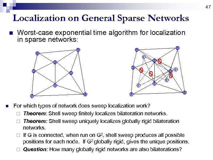 47 Localization on General Sparse Networks n Worst-case exponential time algorithm for localization in