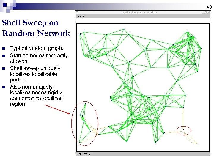 48 Shell Sweep on Random Network n n Typical random graph. Starting nodes randomly