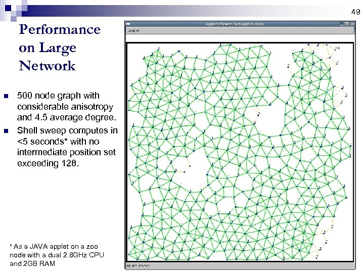 49 Performance on Large Network n n 500 node graph with considerable anisotropy and
