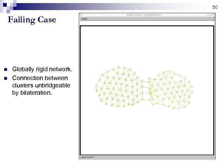 50 Failing Case n n Globally rigid network. Connection between clusters unbridgeable by bilateration.