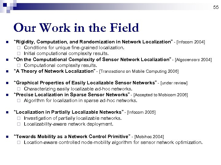 "55 Our Work in the Field n n n ""Rigidity, Computation, and Randomization in"
