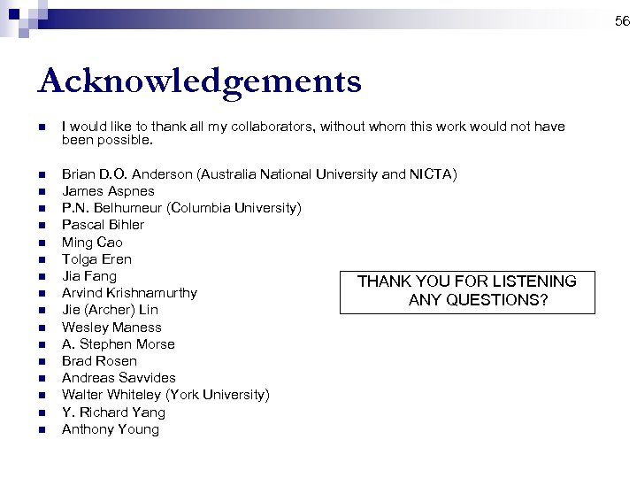 56 Acknowledgements n I would like to thank all my collaborators, without whom this