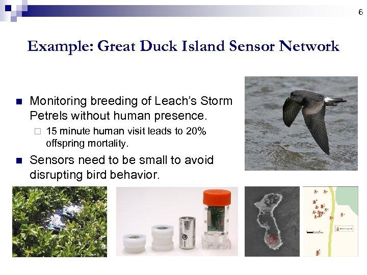 6 Example: Great Duck Island Sensor Network n Monitoring breeding of Leach's Storm Petrels
