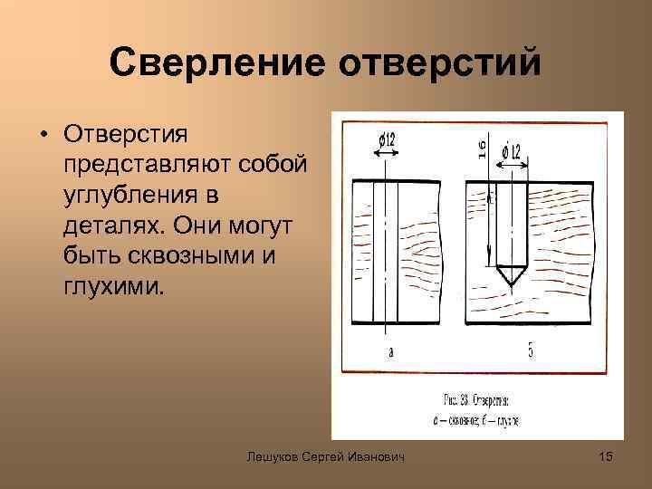 Сверление отверстий • Отверстия представляют собой углубления в деталях. Они могут быть сквозными и