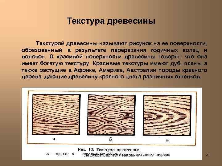 Текстура древесины Текстурой древесины называют рисунок на ее поверхности, образованный в результате перерезания годичных