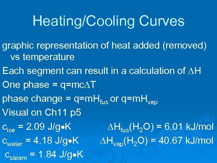 Heating/Cooling Curves graphic representation of heat added (removed) vs temperature Each segment can result