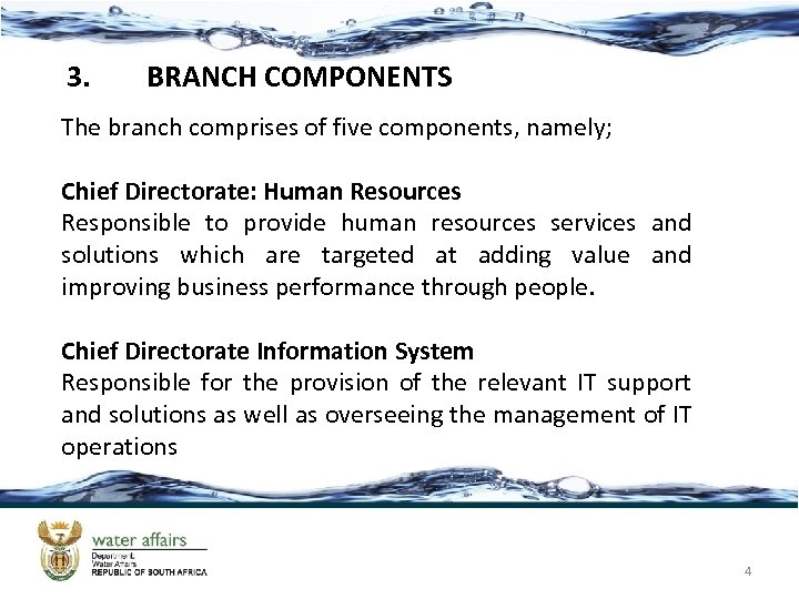 3. BRANCH COMPONENTS The branch comprises of five components, namely; Chief Directorate: Human Resources