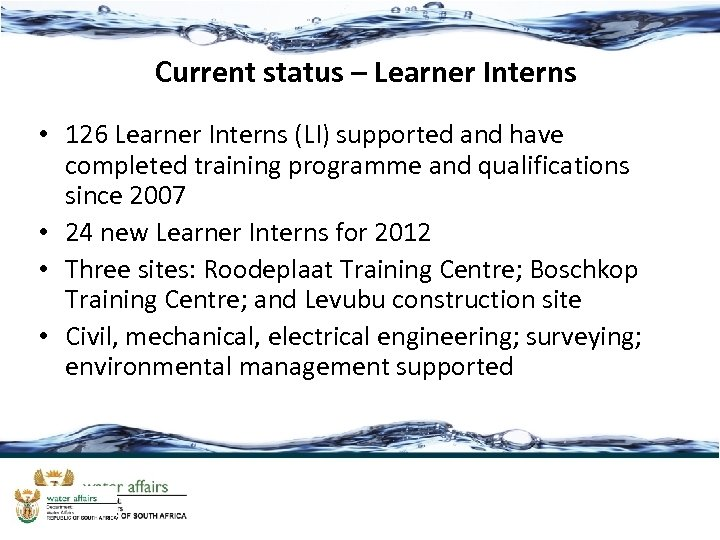 Current status – Learner Interns • 126 Learner Interns (LI) supported and have completed