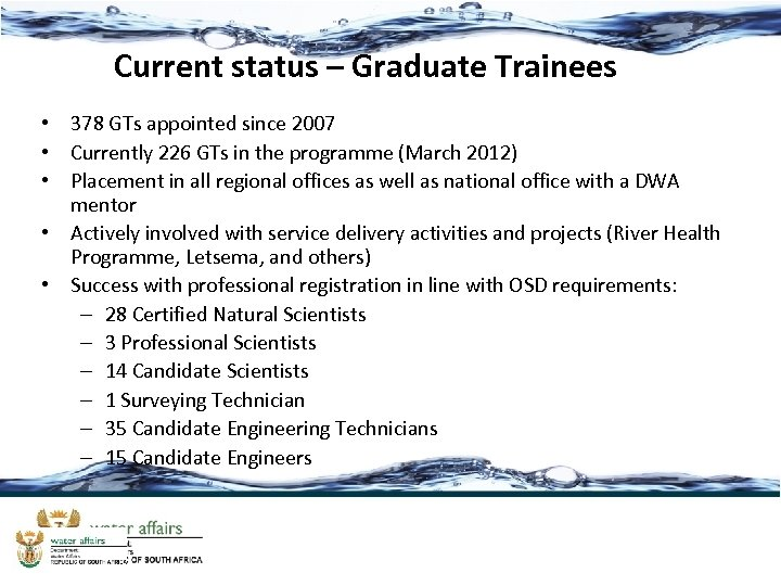 Current status – Graduate Trainees • 378 GTs appointed since 2007 • Currently 226