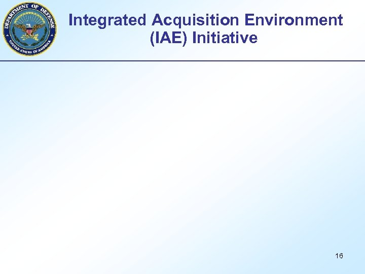 Integrated Acquisition Environment (IAE) Initiative 16