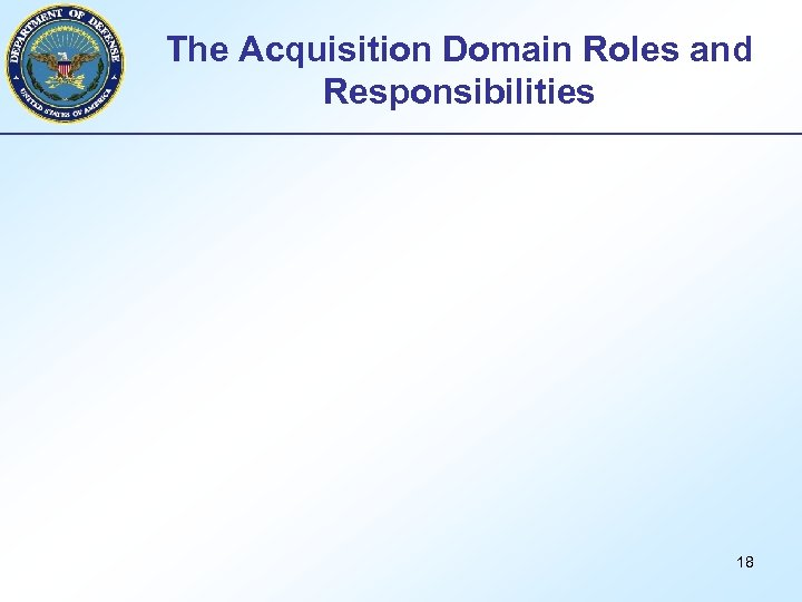 The Acquisition Domain Roles and Responsibilities 18