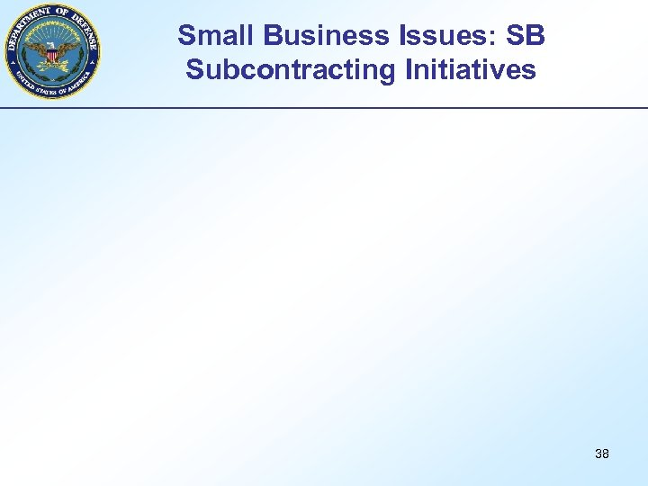Small Business Issues: SB Subcontracting Initiatives 38